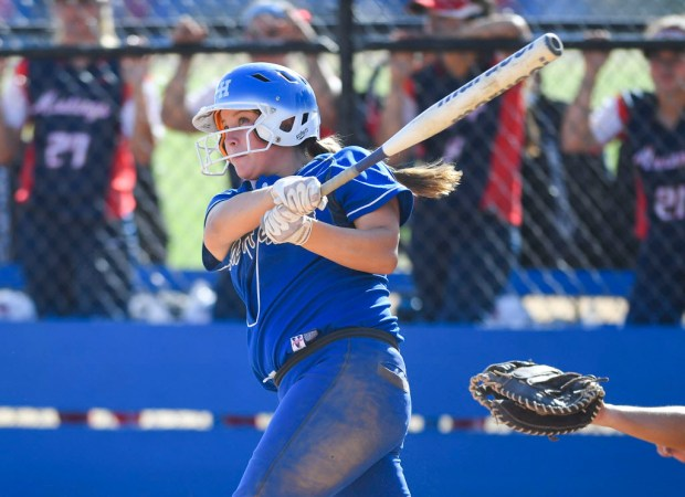 La Habra's Alyssa Palacios watches her home run during the Highlanders' 9-3 victory over Yorba Linda in the first round of the CIF-SS Division 1 softball playoffs in La Habra, CA on Thursday, May 18, 2017. (Photo by Kevin Sullivan, Orange County Register/SCNG)