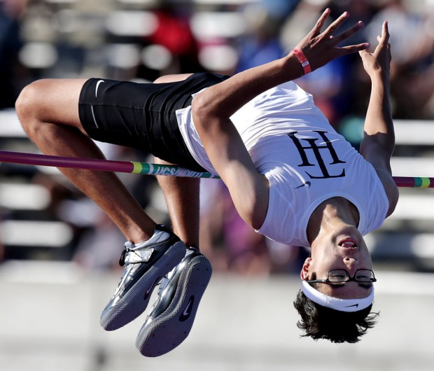 Trabucco Hills' Sean Lee wins the high jump with this leap over 5′-10″ during the CIF-State track & field finals at Buchanan High in Clovis, CA. Saturday, June 3, 2017. TERRY PIERSON,THE PRESS-ENTERPRISE/SCNG