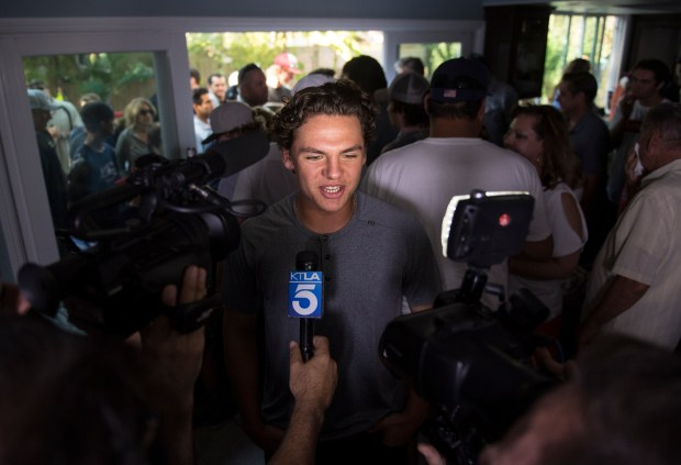 Huntington Beach High School baseball player Nick Pratto interviews with the media after being selected by the Kansa City Royals in the first round, 14th selection during the MLB Draft Day at his girlfriend Chance Burden's House in Huntington Beach on Monday, June 12, 2017. (Photo by Kyusung Gong, Orange County Register/SCNG)
