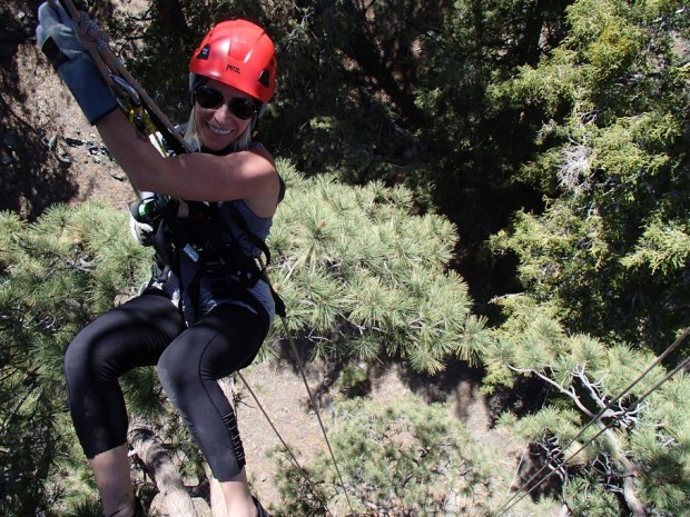 Amanda Fletcher hangs out at Ziplines at Pacific Crest, in the San Gabriel Mountains.