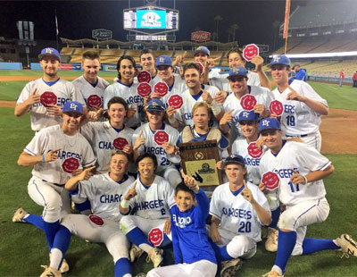El Toro players celebrate on the field with the trophy they received for winning the CIF-SS Division 1 championship game Friday, June 2, at Dodger Stadium. (Courtesy El Toro High)