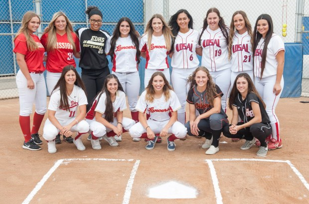 The Register All-County softball team. Back row: Kyra Snyder, Camryn Ybarra, Jordan Matthews, Maddy Dwyer, Mary Iakopo, Ryan Denhart, Caitlin Ladd and Alexa Schultz. Front Row: Neli Casares-Maher, Ciara Briggs, Mariah Rodriguez, Ivy Davis and Jadelyn Allchin in Los Alamitos, on Thursday, June 8, 2017. (Photo by Nick Agro, Orange County Register/SCNG)