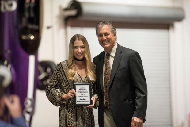 Maddy Dwyer, Orange Lutheran, accepts her award for Softball Pitcher of the Year at the Register's Athletes of the Year Banquet at Marconi Auto Museum in Tustin on Thursday, June 8, 2017. (Photo by Matt Masin, Orange County Register, SCNG)