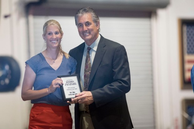 Kate Hick, Foothill, accepts her award for Girls Lacrosse Athlete of the Year at the Register's Athletes of the Year Banquet at Marconi Auto Museum in Tustin on Thursday, June 8, 2017. (Photo by Matt Masin, Orange County Register, SCNG)