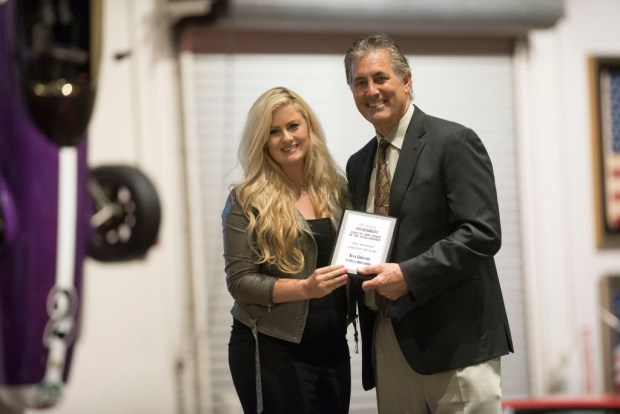 Alex Griffiths, Cypress, accepts her award for Boys Volleyball Coach of the Year at the Register's Athletes of the Year Banquet at Marconi Auto Museum in Tustin on Thursday, June 8, 2017. (Photo by Matt Masin, Orange County Register, SCNG)