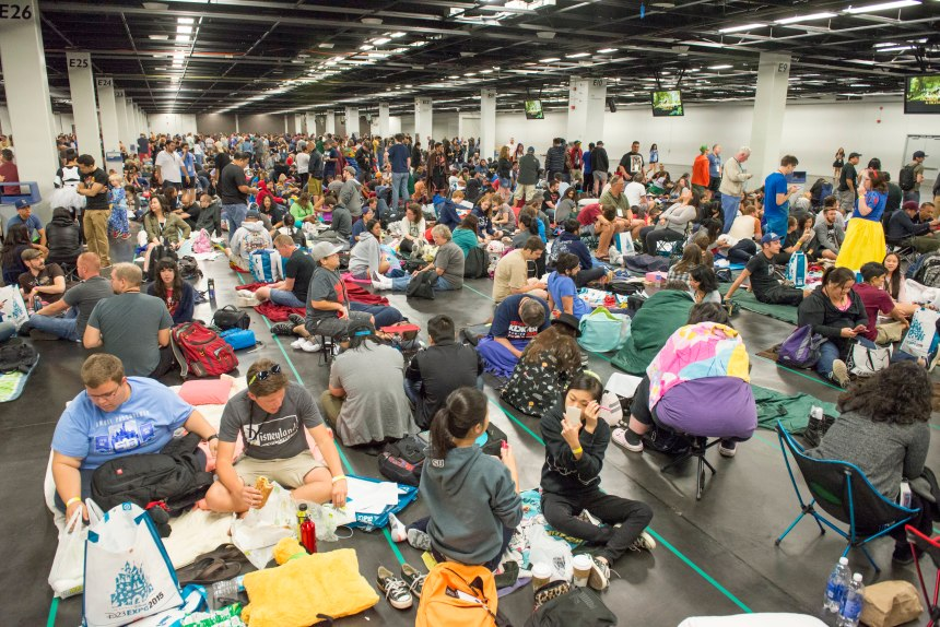 File photo: Hundreds of people wait in line for the Live Action at the Walt Disney Studios on the second day of D23 EXPO 2015 at the Anaheim Convention Center. Most people begin lining up the night before and camped out overnight. Expect a similar scene for D23 Expo 2017. LEONARD ORTIZ, ORANGE COUNTY REGISTER –