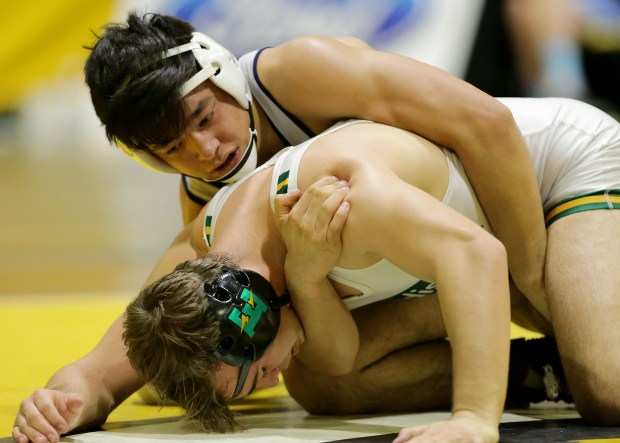 Trabuco Hill's Trey Munoz controls Edison's Jared Williams in their 152 Lbs. championship match of the CIF Southern Section Masters Meet wrestling tournament Saturday in Temecula, CA. February 24, 2018(TERRY PIERSON,THE PRESS-ENTERPRISE/SCNG)