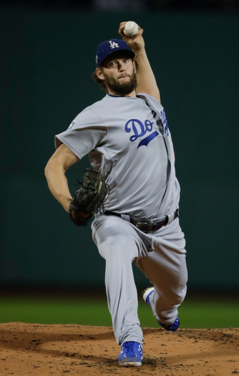 8d4843db7 Los Angeles Dodgers starting pitcher Clayton Kershaw throws during the  first inning of Game 1 of the World Series baseball game against the Boston  Red Sox ...
