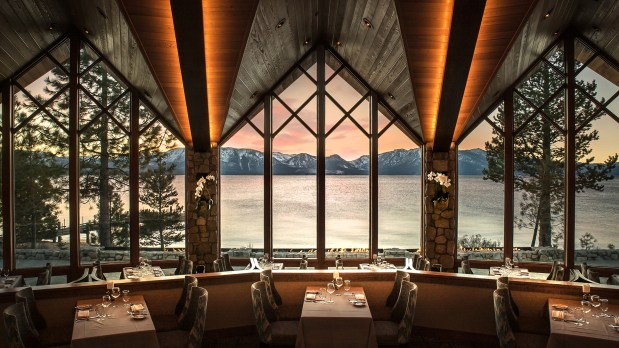 Restaurant dining room with niew of Lake Tahoe in winter