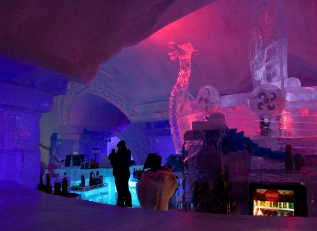 ice bar lit with red lights