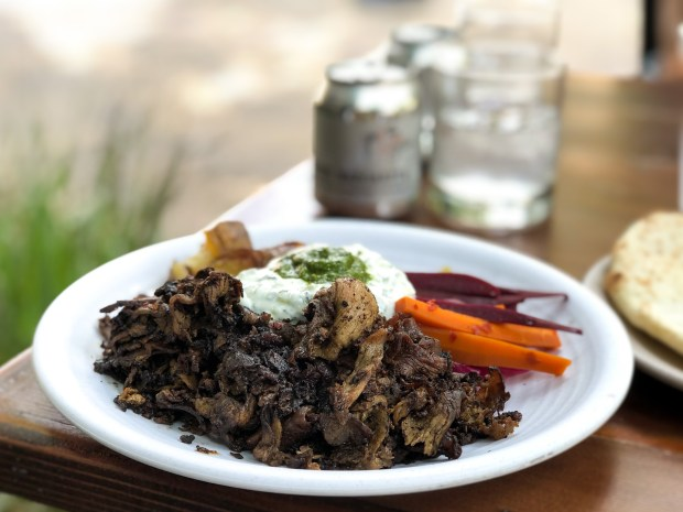 Lamb shawarma on the patio at Playground in Santa Ana (Photo by Brad A. Johnson, Orange County Register/SCNG)