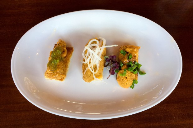 Uni toast at Water Grill in Costa Mesa (Photo by Brad A. Johnson, Orange County Register/SCNG)