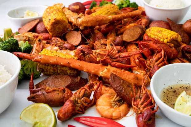 Cajun-style seafood boil with crawfish, crab legs and shrimp from Kickin' Crab in Costa Mesa (Photo by Brad A. Johnson, Orange County Register/SCNG)