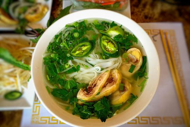 Chicken pho at Hien Thanh. (Photo by Brad A. Johnson, Orange County Register)