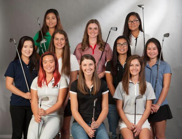 The Register's All-County girls golf team for 2016. Front row, from left: Sunny Hills' Hannah Ko, Troy's Beth Lillie and Trabuco Hills' Hailey Borja. Second row, from left: Valencia's Brittany Park, Foothill's Emily Sumner, Troy's Isabel Sy and Dana Hills' Joan Soewondo. Back row, from left: Sage Hill's Mary Shin, Rosary's Caroline Cantlay and Kennedy's Irene Kim. (Photo by Kevin Sullivan, Orange County Register/SCNG)
