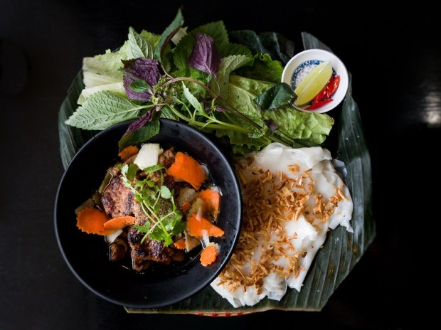 Goc Ha Noi Corner in Garden Grove specializes in northern-style cooking, including banh cuon thit cha nuong Hanoi. (Photo by Brad A. Johnson, Orange County Register/SCNG)