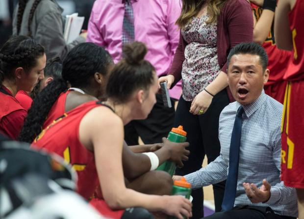Rosary coach Richard Yoon talks to his players during the CIF State Division III Championship game against Camplindo at Golden 1 Center in Sacramento on Friday, March 24, 2017. (Photo by Kyusung Gong/Orange County Register/SCNG)