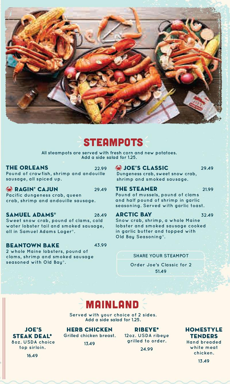 Joes Crab Shack Menu  OC Restaurant Guides