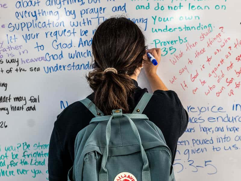 Students learn college preparatory curriculum taught from a Biblical perspective.