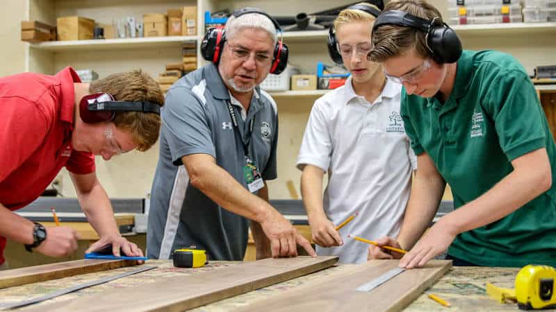 The industrial arts woods shop provides unique learning opportunities at Ontario Christian High School.
