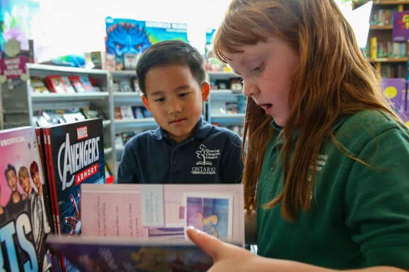 Book fair in the Ontario Christian Elementary school library.