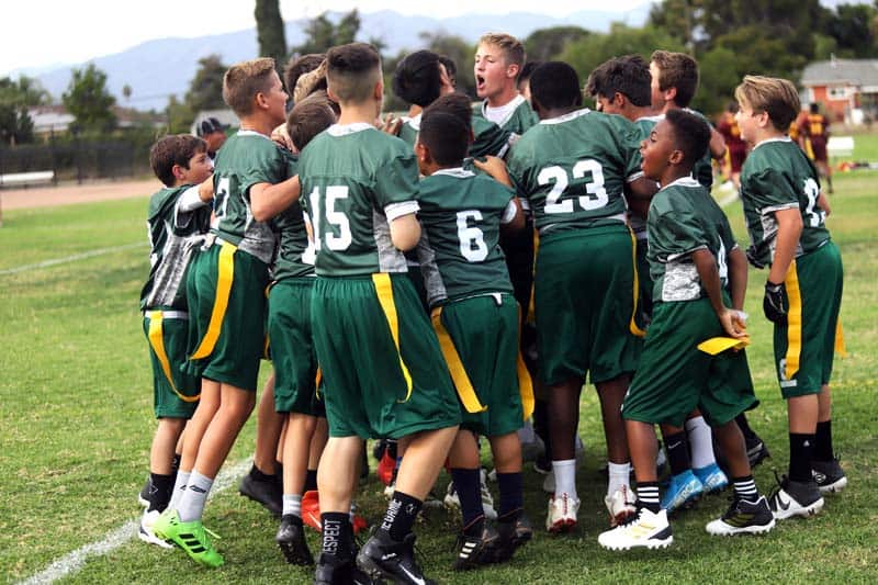 Ontario Christian middle school students participate in athletics such as football