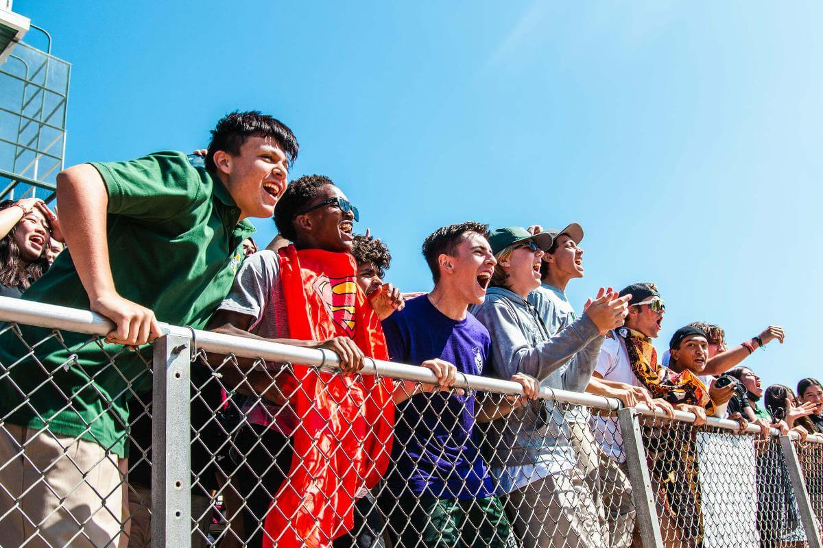 Ontario Christian High School Students cheer on classmates at the fall athletics rally