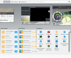 Neon uses Discover as a graphical software centre.