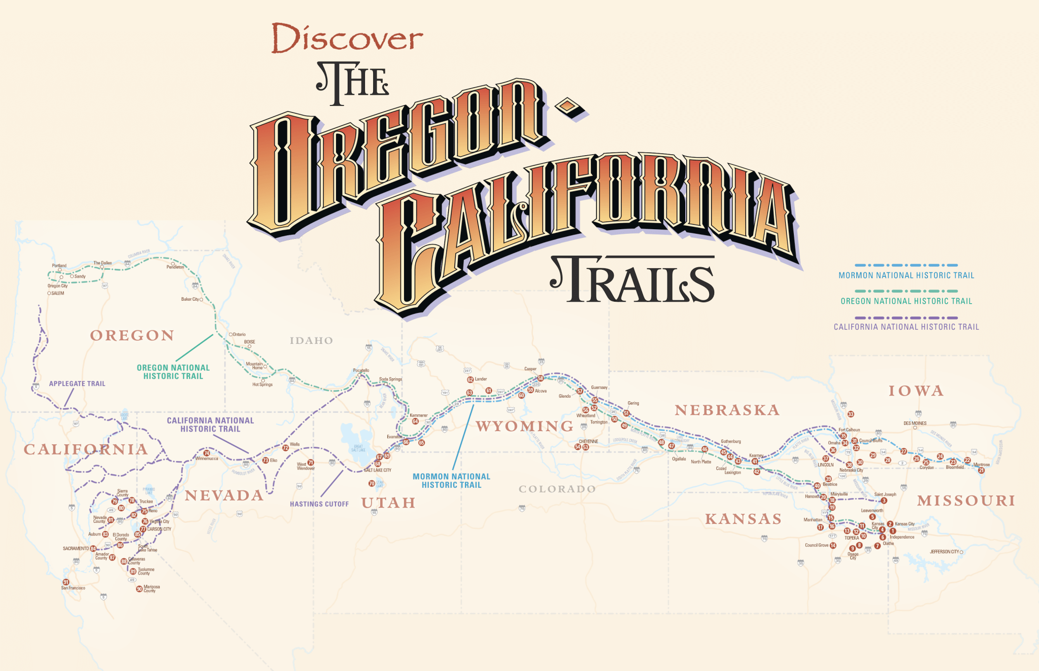 graphic relating to Oregon Trail Map Printable identified as The Oregon, California, Cherokee and Southern Emigrant