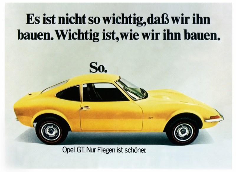 Werbeplakat des Opel GT