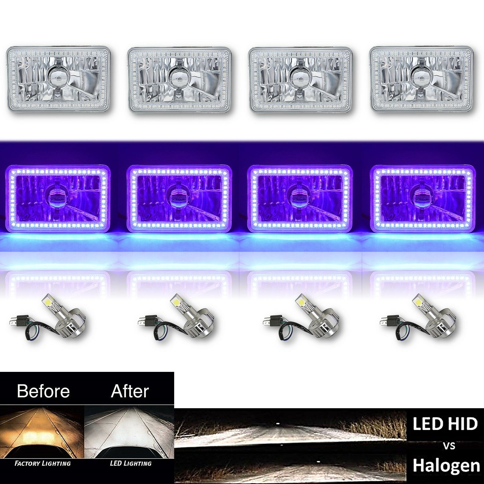 4x6 Blue Led Halo Angel Eye Crystal Clear Headlight W 6k