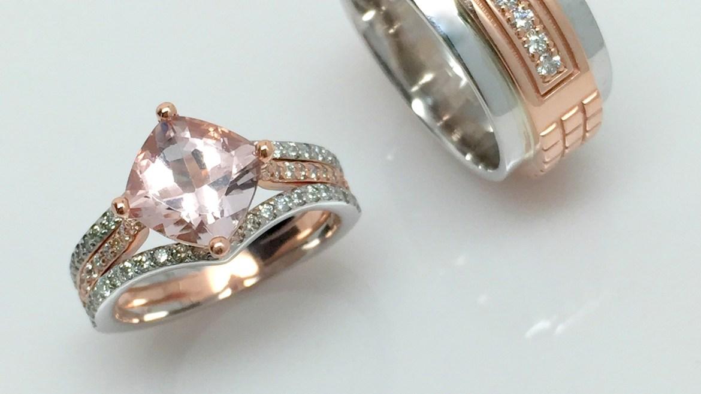 alliance or blanc et rose avec morganite et diamants