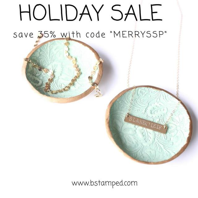 35 of ALL orders today! use code merryssp bstampedjewelry smallshoppromo