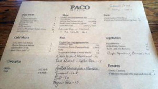 Paco Tapas Menu