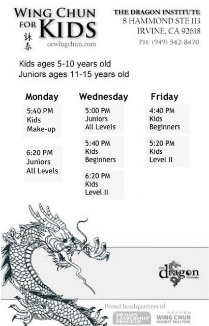 Irvine Kung Fu Kids Class Schedule