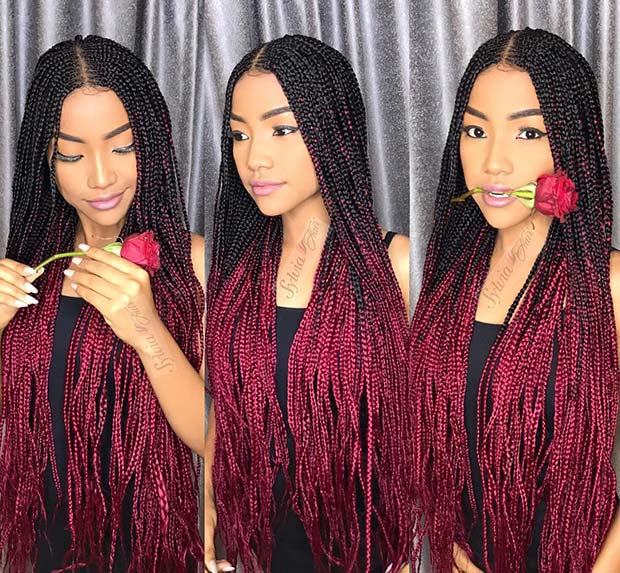 Long Ombre Braids with Color 23 Trendy Ways to Rock African Braids
