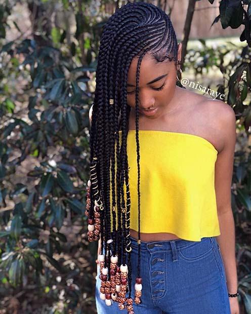 f75d36e76e Long Side Swept African Braids 23 trendy ways to rock african braids -   Od9ja Styles .