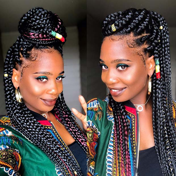 Jumbo Box Braids with Color 23 Trendy Ways to Rock African Braids