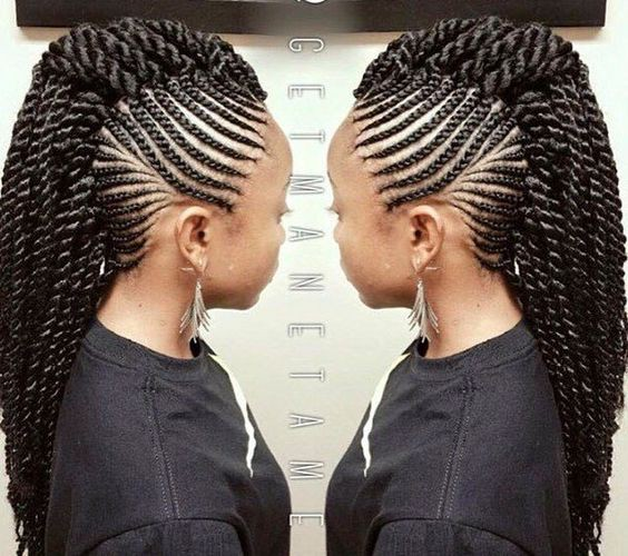 Twists Mohawk With Side Cornrows 20 PHOTOS: Side Cornrow Hairstyles For Special Look – Cornrow Braids
