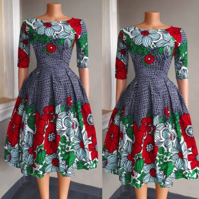 Classy Ankara Short Flare Gown