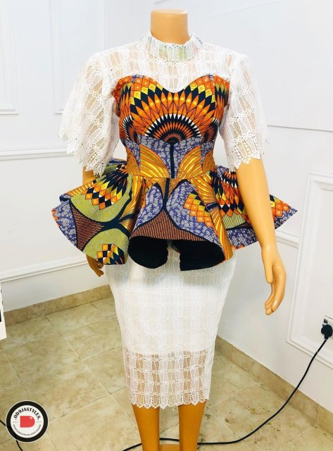 Peplum Skirt and Ankara Blouse Styles peplum skirt and ankara blouse styles - Peplum Skirt and Ankara Blouse Styles 13 473x640 - 45 Elegant and Stylish Ways To Rock Your Peplum Skirt and Ankara Blouse Styles