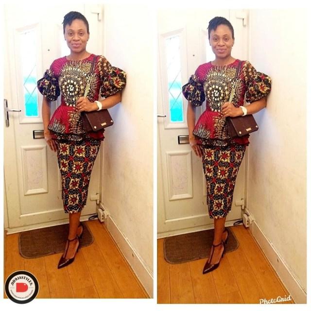 Peplum Skirt and Ankara Blouse Styles peplum skirt and ankara blouse styles - Peplum Skirt and Ankara Blouse Styles 24 640x640 - 45 Elegant and Stylish Ways To Rock Your Peplum Skirt and Ankara Blouse Styles