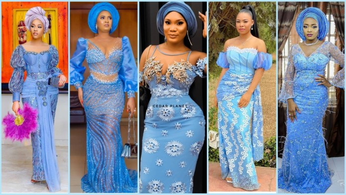 Winning Sky Blue Colour Aso-Ebi Styles For Owambe/Party