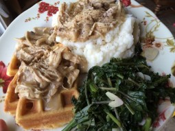 Chicken Over Waffles made with leftover chicken (bone broth)
