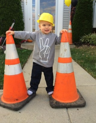 construction birthday party decor - cones out front
