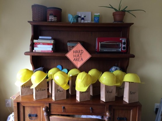 Construction Birthday Party Ideas - Hard Hat Gift Bag Area
