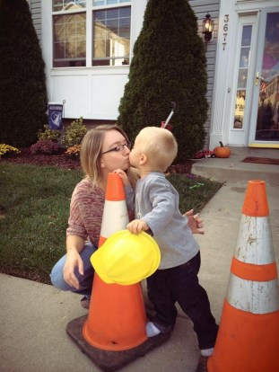 construction birthday party ideas - kiss by the cones