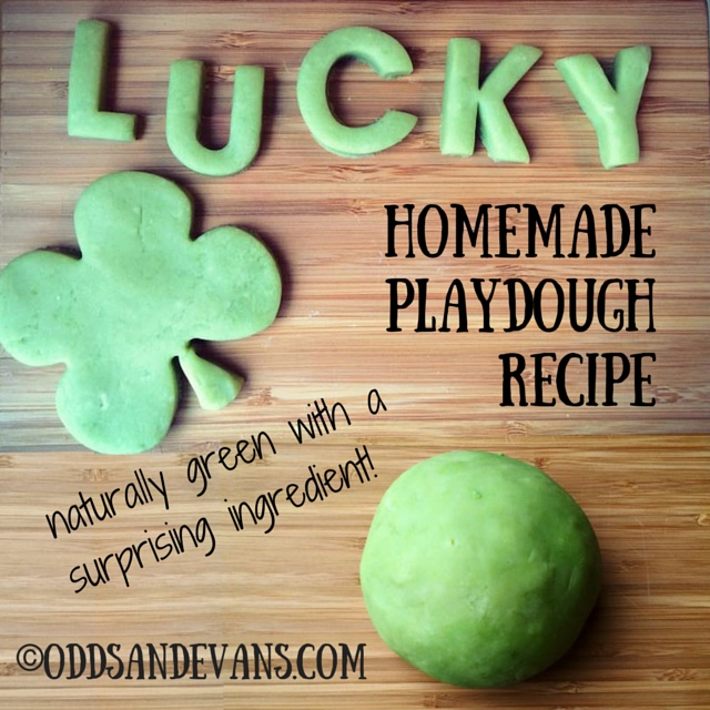 Calming Green Play Dough Recipe with NO food coloring!