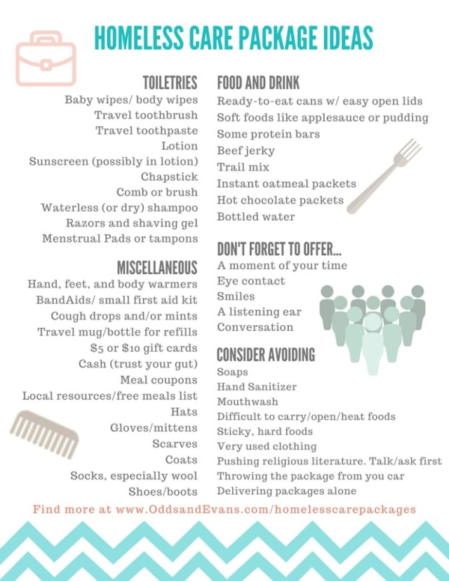 homeless care packages plus printable lists odds evans