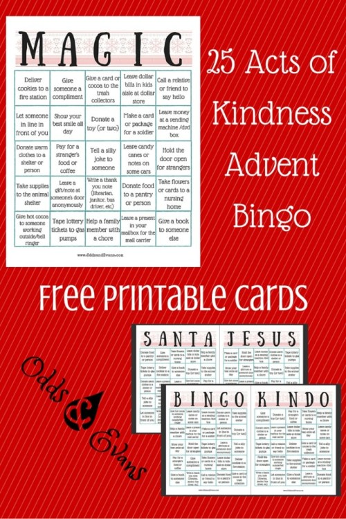 25 Acts of Kindness Advent Bingo Alternative Free Printable Cards for Christmas